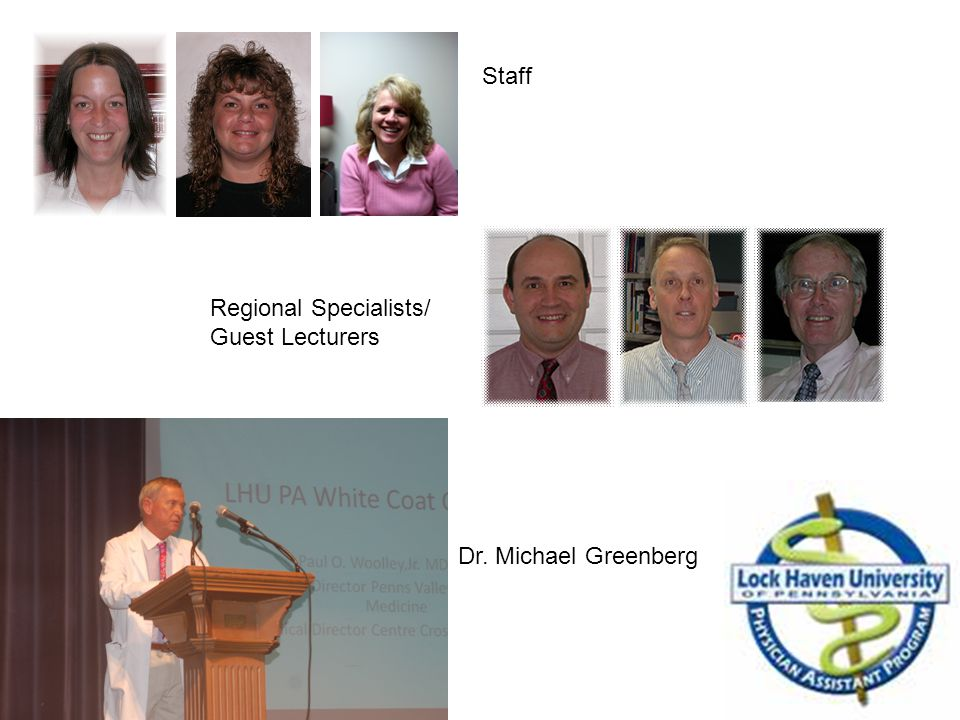 Staff Regional Specialists/ Guest Lecturers Dr. Michael Greenberg