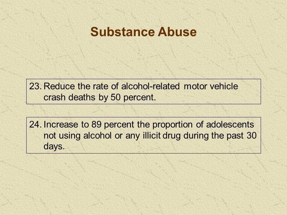 23.Reduce the rate of alcohol-related motor vehicle crash deaths by 50 percent.
