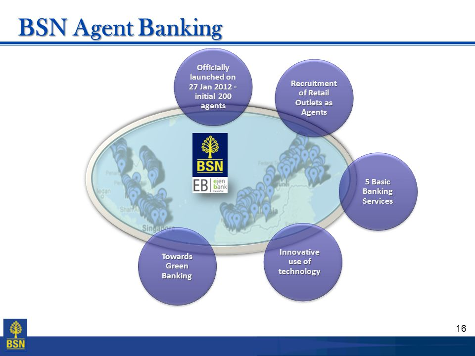 16 BSN Agent Banking Officially launched on 27 Jan 2012 - initial 200 agents Recruitment of Retail Outlets as Agents 5 Basic Banking Services Innovati