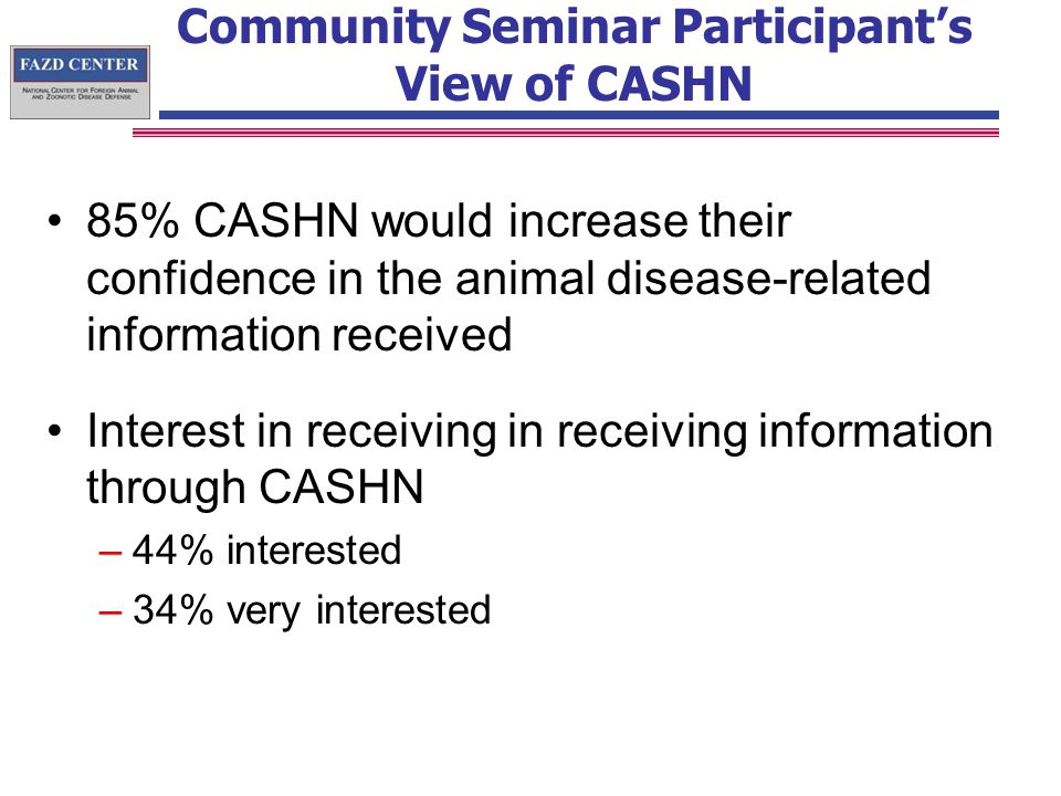 Community Seminar Participant's View of CASHN 85% CASHN would increase their confidence in the animal disease-related information received Interest in receiving in receiving information through CASHN –44% interested –34% very interested