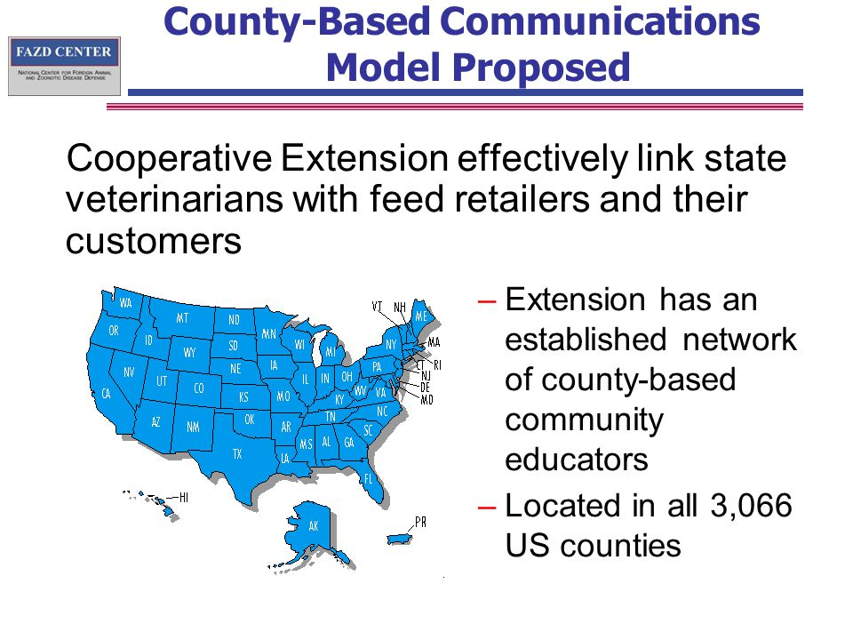 County-Based Communications Model Proposed Cooperative Extension effectively link state veterinarians with feed retailers and their customers –Extension has an established network of county-based community educators –Located in all 3,066 US counties