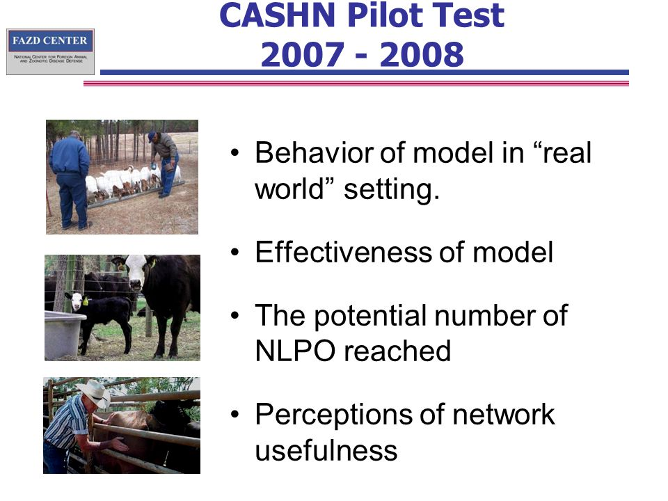 CASHN Pilot Test Behavior of model in real world setting.