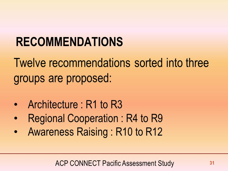 ACP CONNECT Pacific Assessment Study RECOMMENDATIONS 31 Twelve recommendations sorted into three groups are proposed: Architecture : R1 to R3 Regional