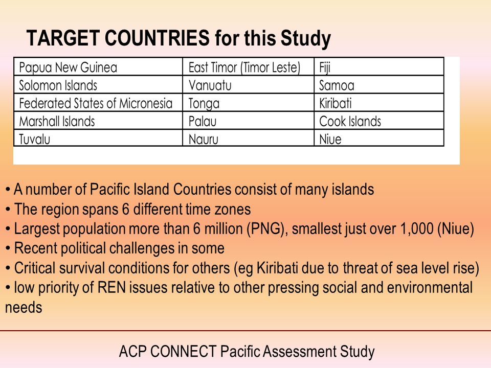 ACP CONNECT Pacific Assessment Study TARGET COUNTRIES for this Study A number of Pacific Island Countries consist of many islands The region spans 6 d