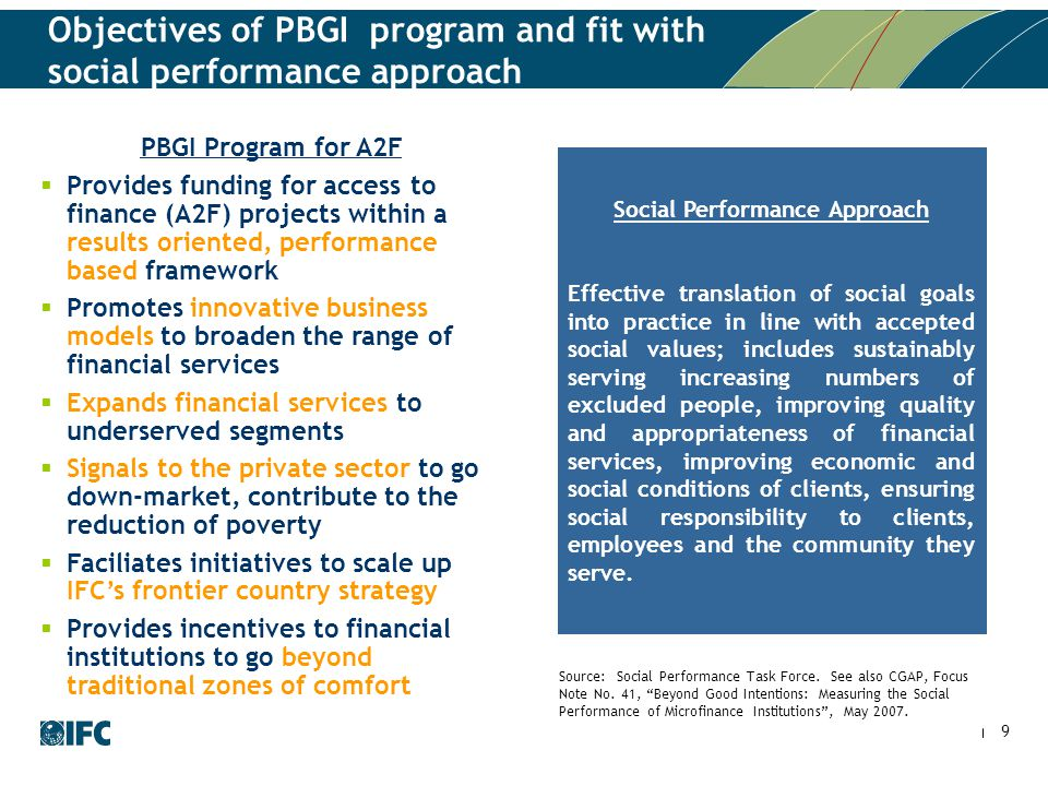 9 Objectives of PBGI program and fit with social performance approach Social Performance Approach Effective translation of social goals into practice in line with accepted social values; includes sustainably serving increasing numbers of excluded people, improving quality and appropriateness of financial services, improving economic and social conditions of clients, ensuring social responsibility to clients, employees and the community they serve.