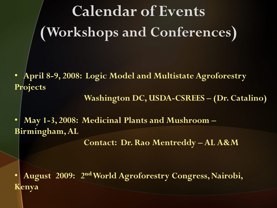 Calendar of Events ( Workshops and Conferences ) April 8-9, 2008: Logic Model and Multistate Agroforestry Projects Washington DC, USDA-CSREES – (Dr.
