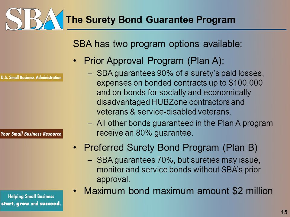 The Surety Bond Guarantee Program SBA has two program options available: Prior Approval Program (Plan A): –SBA guarantees 90% of a surety's paid losses, expenses on bonded contracts up to $100,000 and on bonds for socially and economically disadvantaged HUBZone contractors and veterans & service-disabled veterans.