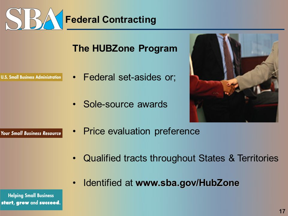 Federal Contracting The HUBZone Program Federal set-asides or; Sole-source awards Price evaluation preference Qualified tracts throughout States & Ter