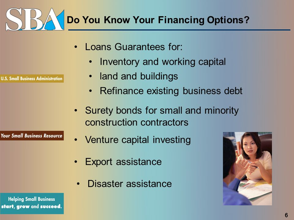 Do You Know Your Financing Options? Inventory and working capital land and buildings Surety bonds for small and minority construction contractors Vent
