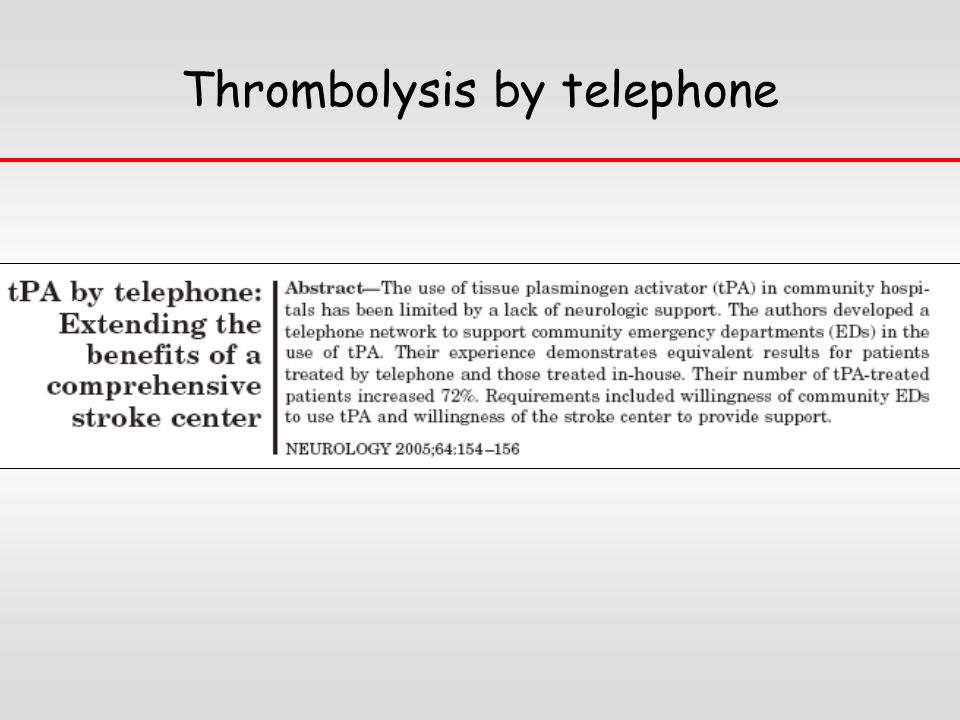 Thrombolysis by telephone