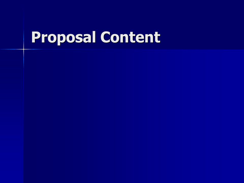 Proposal Content