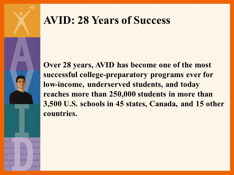 Over 28 years, AVID has become one of the most successful college-preparatory programs ever for low-income, underserved students, and today reaches more than 250,000 students in more than 3,500 U.S.