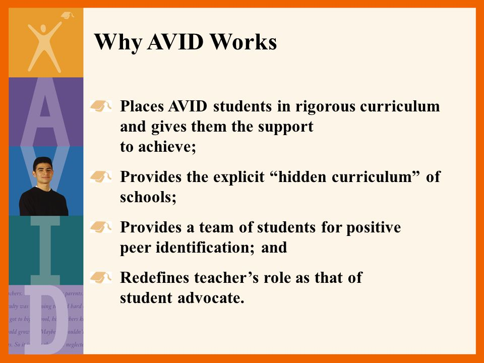 Why AVID Works Places AVID students in rigorous curriculum and gives them the support to achieve; Provides the explicit hidden curriculum of schools; Provides a team of students for positive peer identification; and Redefines teacher's role as that of student advocate.