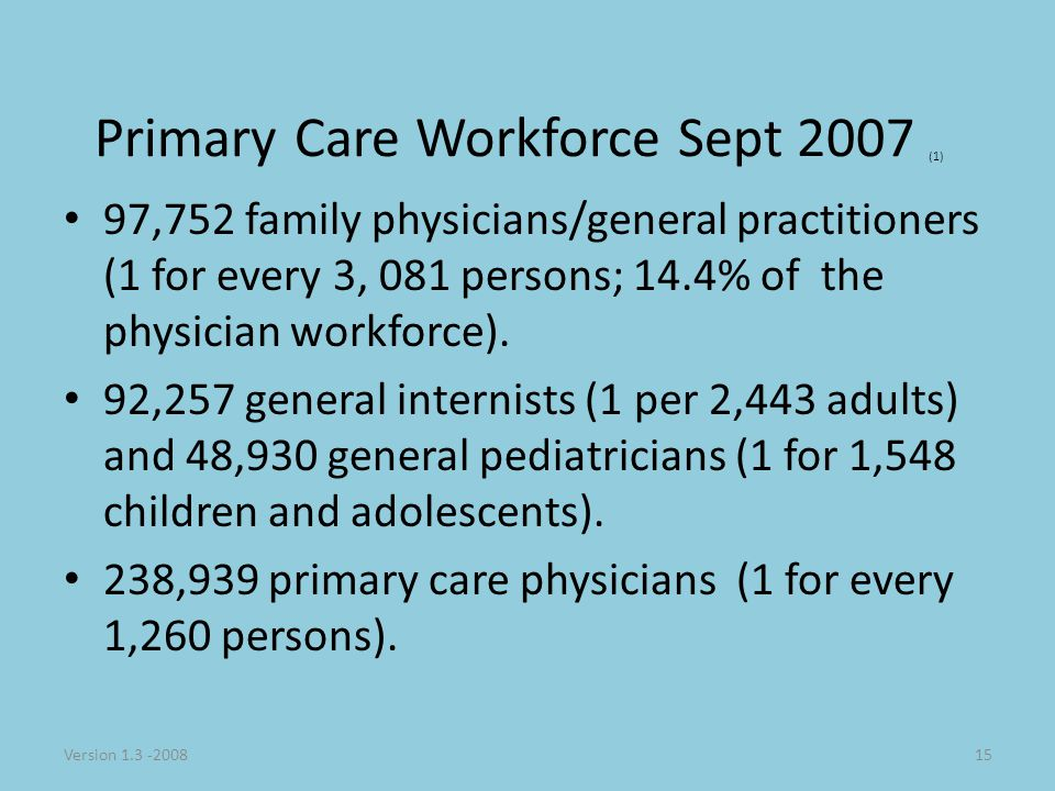 Version 1.3 -200815 Primary Care Workforce Sept 2007 (1) 97,752 family physicians/general practitioners (1 for every 3, 081 persons; 14.4% of the physician workforce).