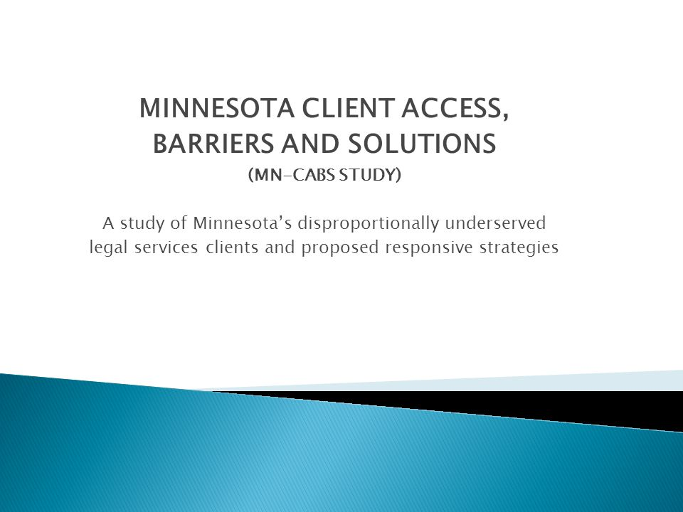  Identify disproportionately underserved groups of legal services- eligible clients around Minnesota,  Describe the barriers they face to obtaining legal services, and  Develop strategies for overcoming those barriers.