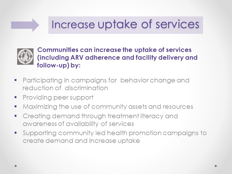 Communities can increase the uptake of services (including ARV adherence and facility delivery and follow-up) by:  Participating in campaigns for behavior change and reduction of discrimination  Providing peer support  Maximizing the use of community assets and resources  Creating demand through treatment literacy and awareness of availability of services  Supporting community led health promotion campaigns to create demand and increase uptake Increase uptake of services