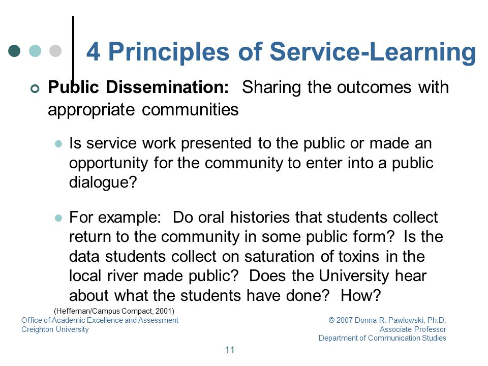 11 4 Principles of Service-Learning Public Dissemination: Sharing the outcomes with appropriate communities Is service work presented to the public or
