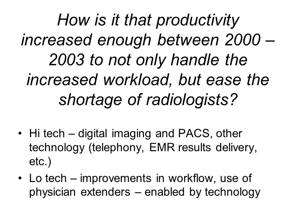 How is it that productivity increased enough between 2000 – 2003 to not only handle the increased workload, but ease the shortage of radiologists.