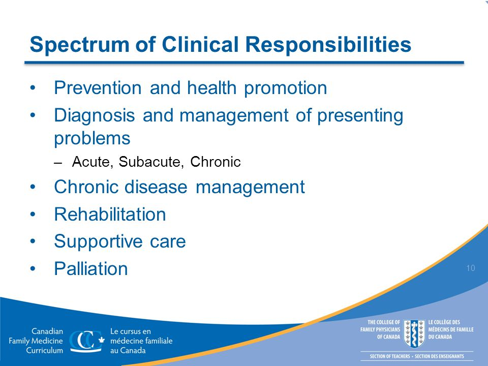 Spectrum of Clinical Responsibilities Prevention and health promotion Diagnosis and management of presenting problems –Acute, Subacute, Chronic Chronic disease management Rehabilitation Supportive care Palliation 10