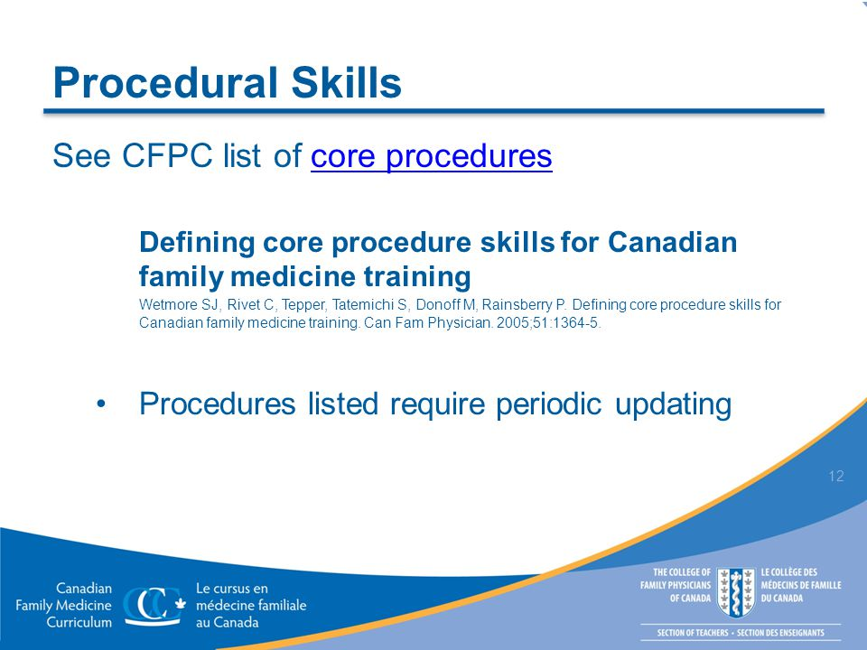 Procedural Skills See CFPC list of core procedurescore procedures Defining core procedure skills for Canadian family medicine training Wetmore SJ, Riv