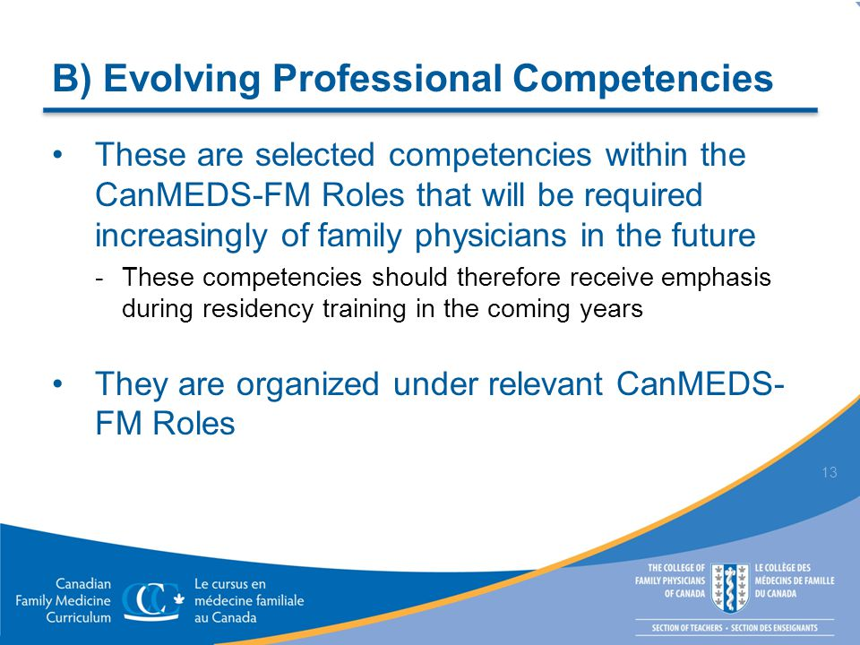 B) Evolving Professional Competencies These are selected competencies within the CanMEDS-FM Roles that will be required increasingly of family physicians in the future  These competencies should therefore receive emphasis during residency training in the coming years They are organized under relevant CanMEDS- FM Roles 13