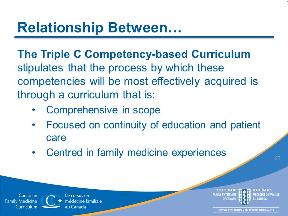 Relationship Between… The Triple C Competency-based Curriculum stipulates that the process by which these competencies will be most effectively acquir