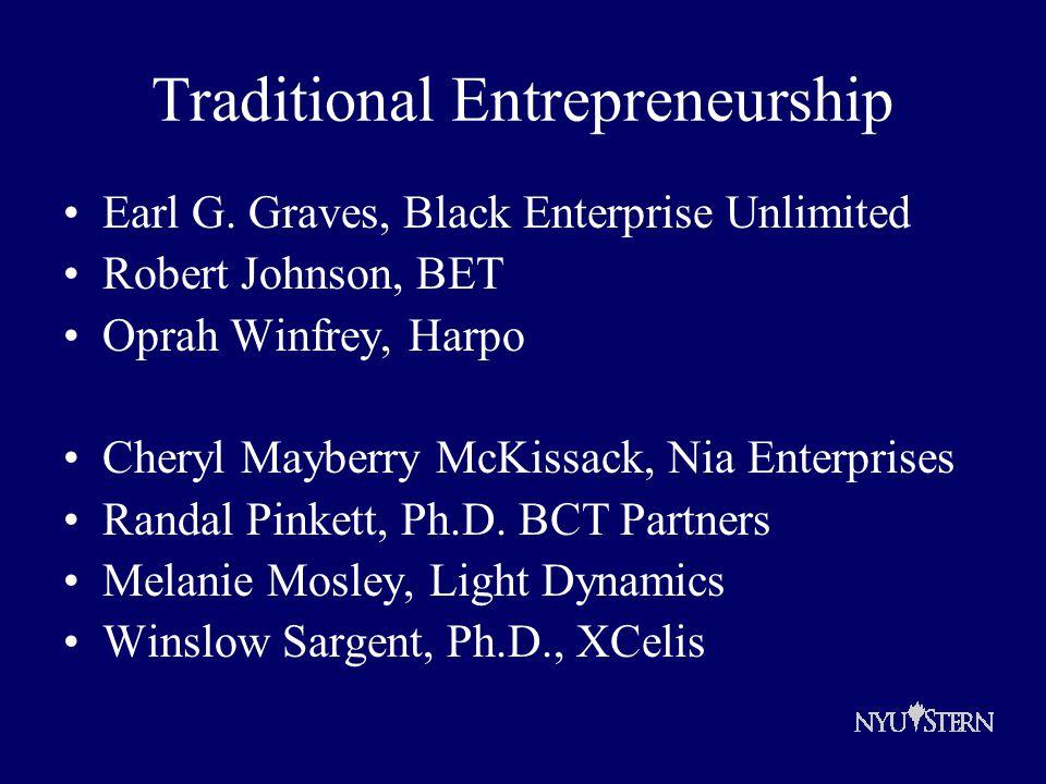 Traditional Entrepreneurship Earl G.