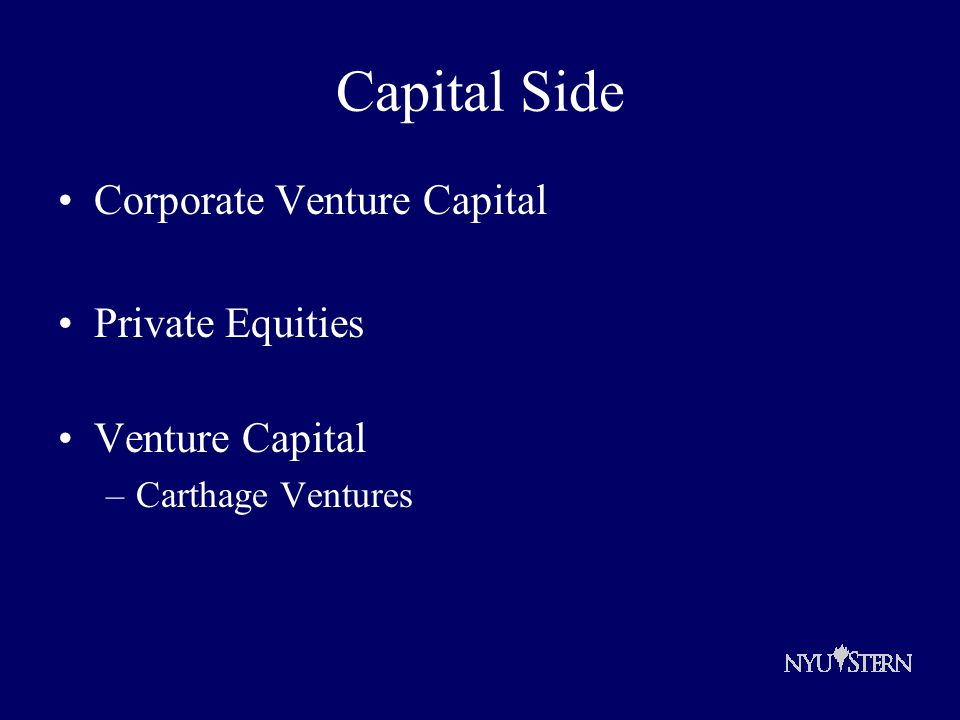 Capital Side Corporate Venture Capital Private Equities Venture Capital –Carthage Ventures