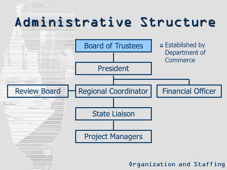 Administrative Structure Organization and Staffing President Review BoardFinancial OfficerRegional Coordinator State Liaison Project Managers Board of