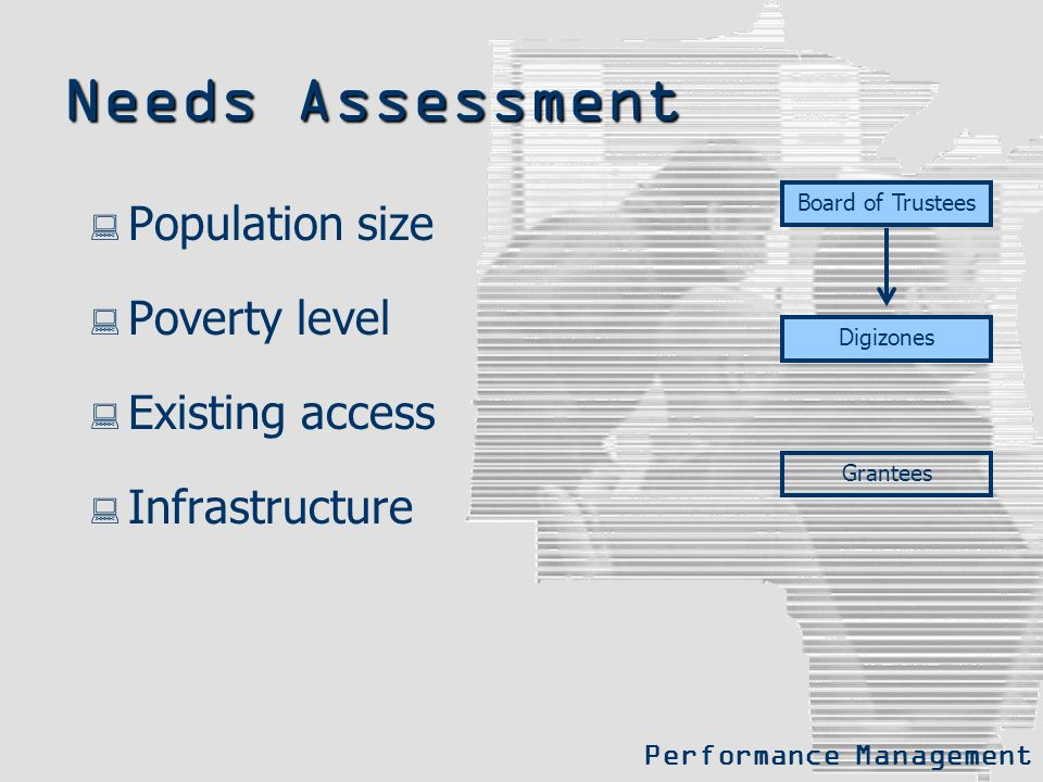 Needs Assessment  Population size  Poverty level  Existing access  Infrastructure Board of Trustees Digizones Grantees Performance Management