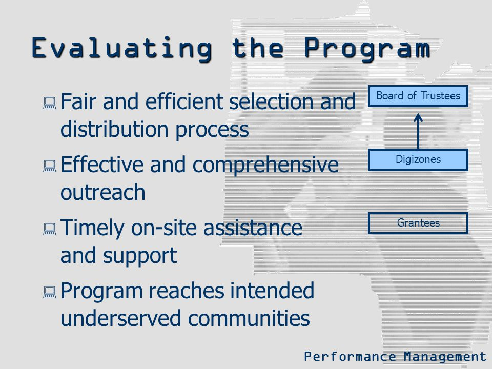 Evaluating the Program  Fair and efficient selection and distribution process  Effective and comprehensive outreach  Timely on-site assistance and