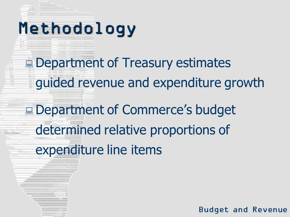 Methodology  Department of Treasury estimates guided revenue and expenditure growth  Department of Commerce's budget determined relative proportions