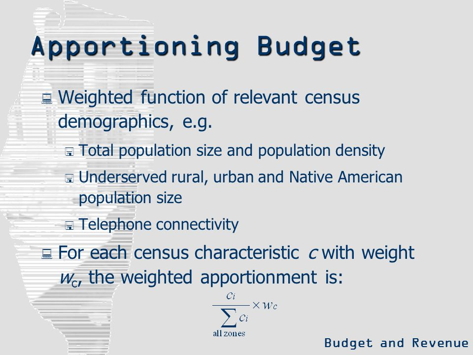 Apportioning Budget  Weighted function of relevant census demographics, e.g.  Total population size and population density  Underserved rural, urba