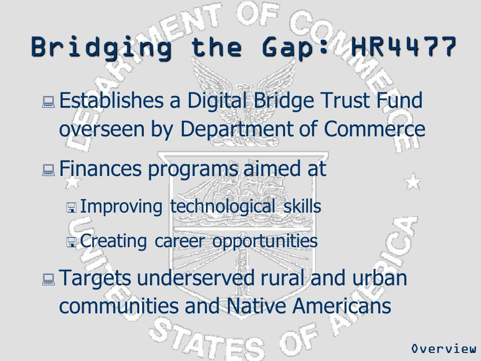 Bridging the Gap: HR4477  Establishes a Digital Bridge Trust Fund overseen by Department of Commerce  Finances programs aimed at  Improving technol