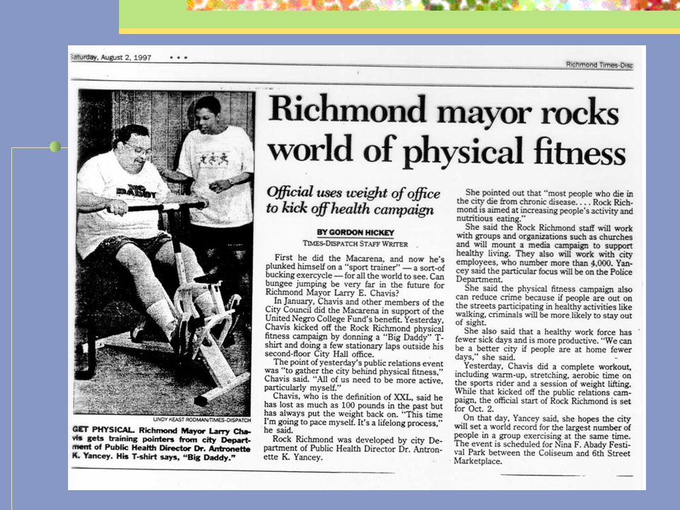 ROCK! Richmond Community-level fitness promotion initiative of Richmond City DPH/Medical College of Virginia 3 major components: (1) free fitness inst