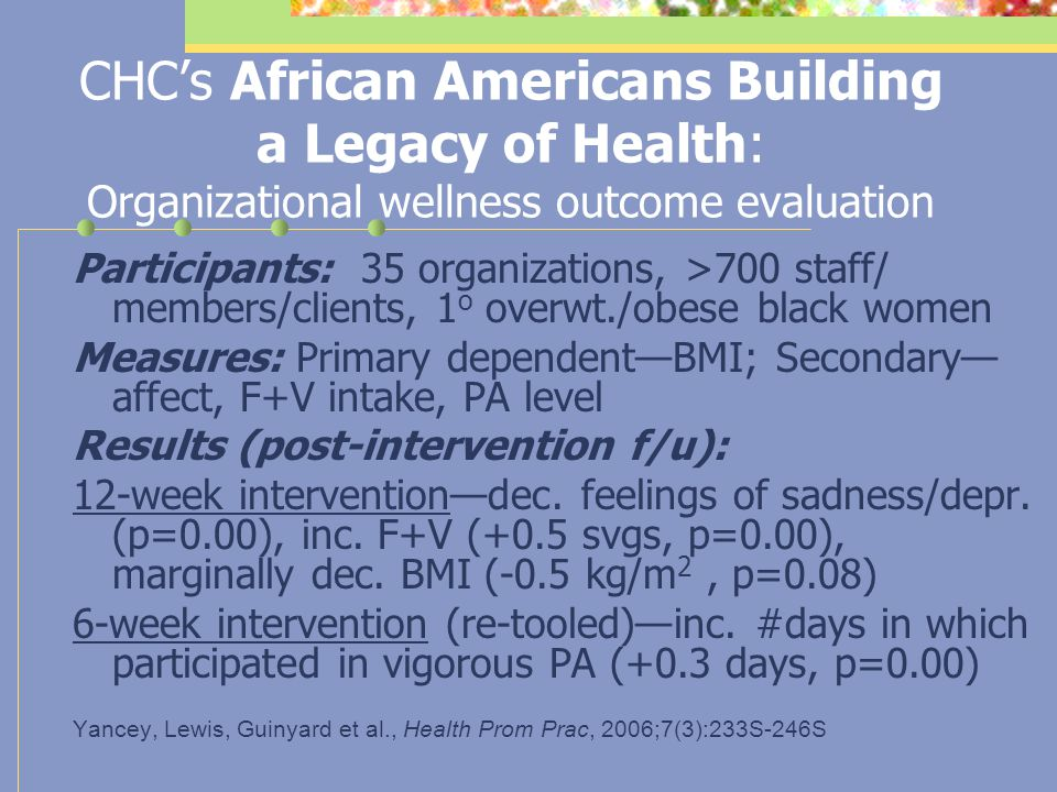 CHC's African Americans Building a Legacy of Health: Process evaluation Measures: Primary dependent measure–level of organizational support for physic