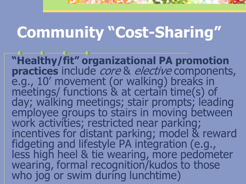 """Community """"Cost-Sharing"""" 1. Leverage funder and/or regulatory roles (foundation, especially government) to mandate healthy/fit workplace practices, wi"""