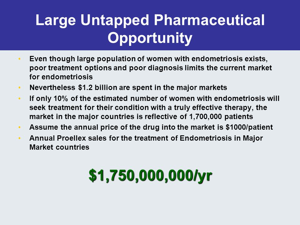 Large Untapped Pharmaceutical Opportunity Even though large population of women with endometriosis exists, poor treatment options and poor diagnosis limits the current market for endometriosis Nevertheless $1.2 billion are spent in the major markets If only 10% of the estimated number of women with endometriosis will seek treatment for their condition with a truly effective therapy, the market in the major countries is reflective of 1,700,000 patients Assume the annual price of the drug into the market is $1000/patient Annual Proellex sales for the treatment of Endometriosis in Major Market countries$1,750,000,000/yr