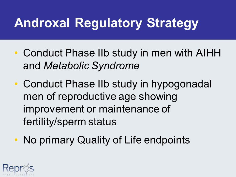 Androxal Regulatory Strategy Conduct Phase IIb study in men with AIHH and Metabolic Syndrome Conduct Phase IIb study in hypogonadal men of reproductive age showing improvement or maintenance of fertility/sperm status No primary Quality of Life endpoints