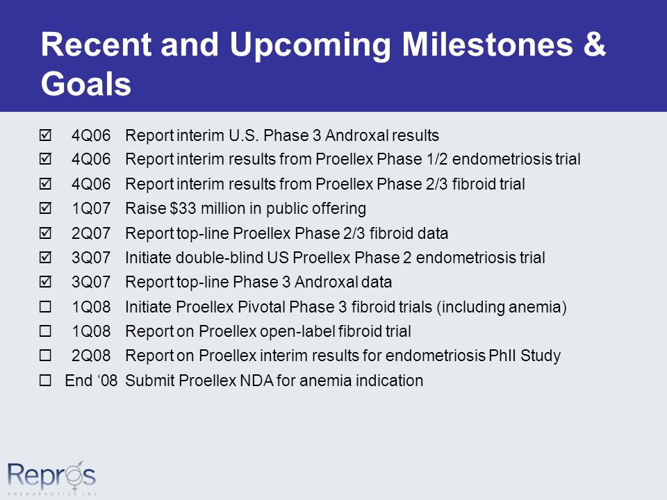 Recent and Upcoming Milestones & Goals  4Q06Report interim U.S.