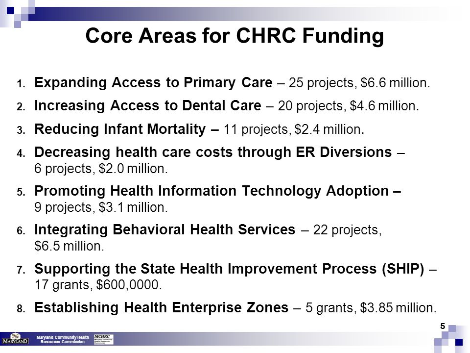 Maryland Community Health Resources Commission 5 Core Areas for CHRC Funding 1.