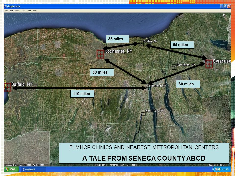 50 miles 60 miles 35 miles 55 miles FLMHCP CLINICS AND NEAREST METROPOLITAN CENTERS A TALE FROM SENECA COUNTY ABCD 110 miles