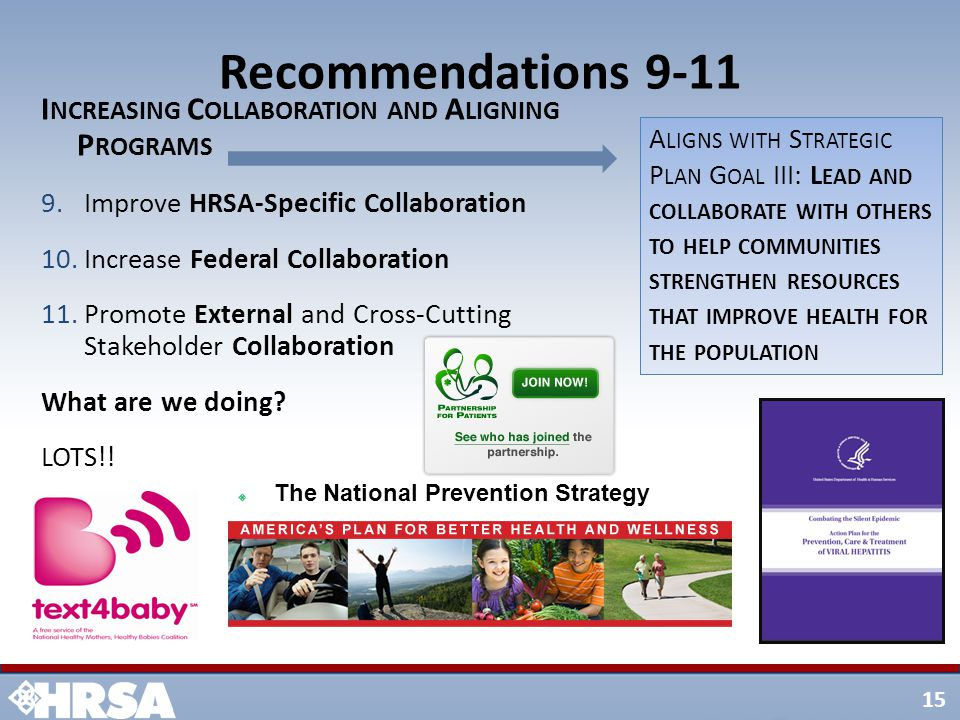 15 Recommendations 9-11 I NCREASING C OLLABORATION AND A LIGNING P ROGRAMS 9.Improve HRSA-Specific Collaboration 10.Increase Federal Collaboration 11.