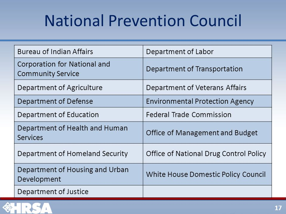 17 National Prevention Council Bureau of Indian AffairsDepartment of Labor Corporation for National and Community Service Department of Transportation
