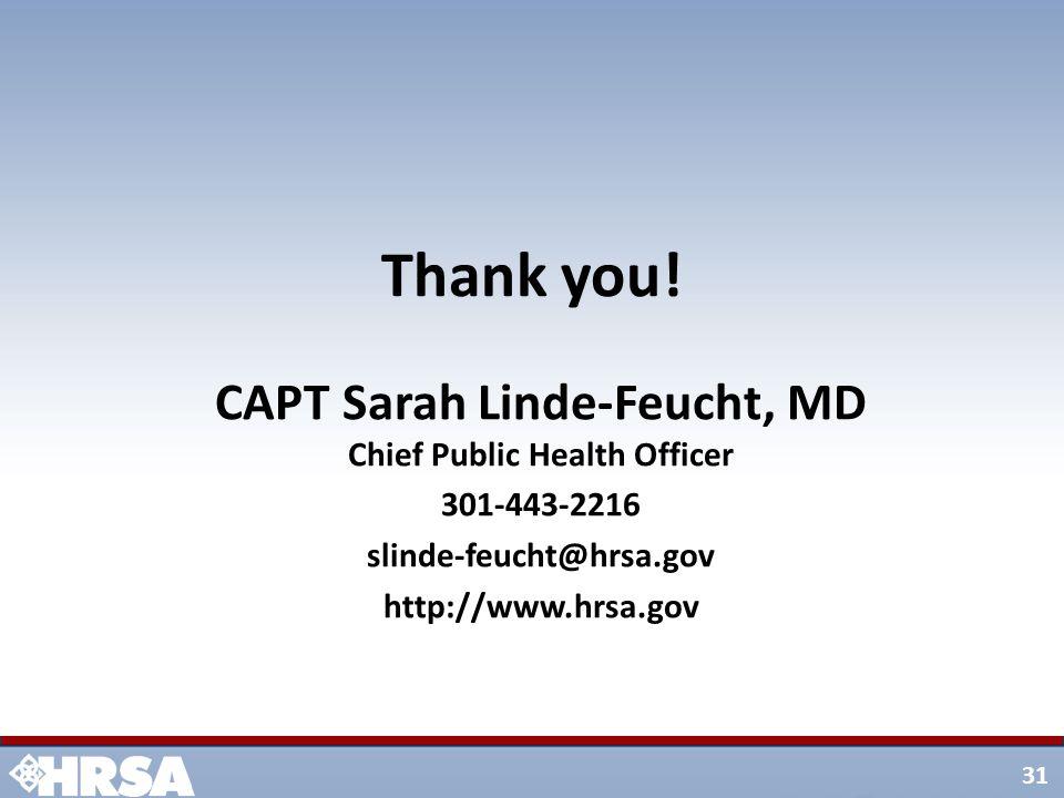 31 CAPT Sarah Linde-Feucht, MD Chief Public Health Officer 301-443-2216 slinde-feucht@hrsa.gov http://www.hrsa.gov Thank you!