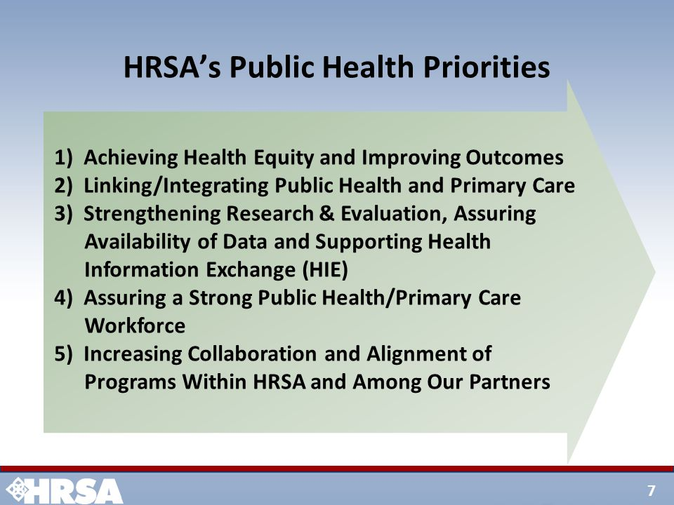 7 HRSA's Public Health Priorities 1) Achieving Health Equity and Improving Outcomes 2) Linking/Integrating Public Health and Primary Care 3) Strengthening Research & Evaluation, Assuring Availability of Data and Supporting Health Information Exchange (HIE) 4) Assuring a Strong Public Health/Primary Care Workforce 5) Increasing Collaboration and Alignment of Programs Within HRSA and Among Our Partners