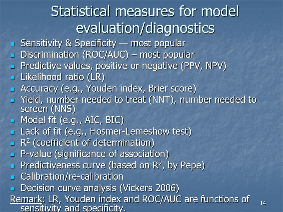 14 Statistical measures for model evaluation/diagnostics Sensitivity & Specificity — most popular Sensitivity & Specificity — most popular Discrimination (ROC/AUC) – most popular Discrimination (ROC/AUC) – most popular Predictive values, positive or negative (PPV, NPV) Predictive values, positive or negative (PPV, NPV) Likelihood ratio (LR) Likelihood ratio (LR) Accuracy (e.g., Youden index, Brier score) Accuracy (e.g., Youden index, Brier score) Yield, number needed to treat (NNT), number needed to screen (NNS) Yield, number needed to treat (NNT), number needed to screen (NNS) Model fit (e.g., AIC, BIC) Model fit (e.g., AIC, BIC) Lack of fit (e.g., Hosmer-Lemeshow test) Lack of fit (e.g., Hosmer-Lemeshow test) R 2 (coefficient of determination) R 2 (coefficient of determination) P-value (significance of association) P-value (significance of association) Predictiveness curve (based on R 2, by Pepe) Predictiveness curve (based on R 2, by Pepe) Calibration/re-calibration Calibration/re-calibration Decision curve analysis (Vickers 2006) Decision curve analysis (Vickers 2006) Remark: LR, Youden index and ROC/AUC are functions of sensitivity and specificity.