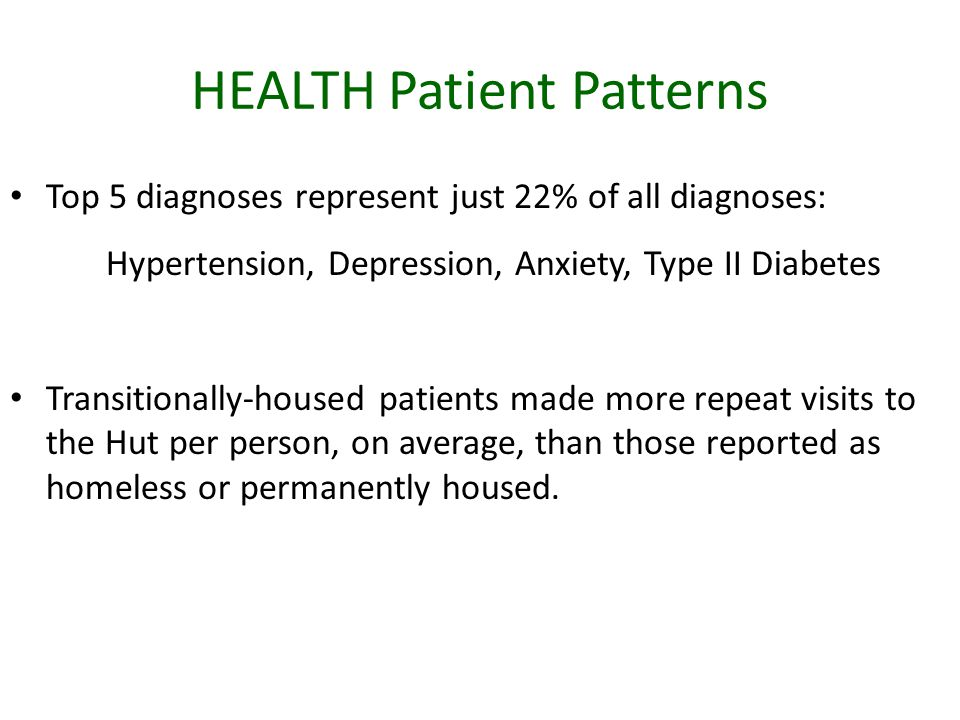 HEALTH Patient Patterns Top 5 diagnoses represent just 22% of all diagnoses: Hypertension, Depression, Anxiety, Type II Diabetes Transitionally-housed patients made more repeat visits to the Hut per person, on average, than those reported as homeless or permanently housed.
