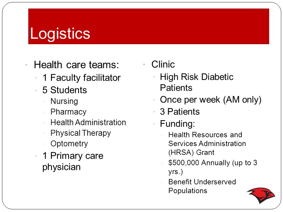 Logistics  Health care teams:  1 Faculty facilitator  5 Students  Nursing  Pharmacy  Health Administration  Physical Therapy  Optometry  1 Pr