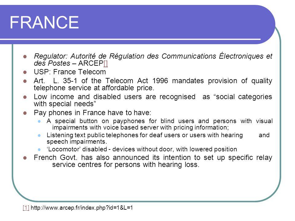 FRANCE Regulator: Autorité de Régulation des Communications Électroniques et des Postes – ARCEP[][] USP: France Telecom Art.